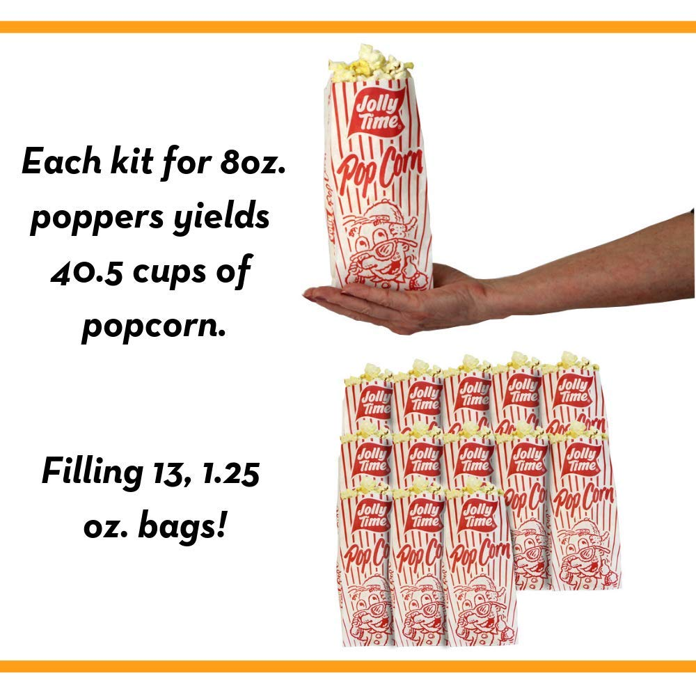 JOLLY TIME All in One Kit for 8 oz. Popcorn Machine | Portion Packet with Kernels, Oil and Salt for Commercial, Movie Theater or Air Popper (Net Wt. 10.5 oz. Each, Pack of 24) by Jolly Time (Image #6)