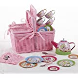 Delton - 4 Tin Tea Set/ Pink Basket, Tulips