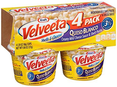 Velveeta Shells & Cheese Pasta, Queso Blanco, Single Serve Microwave Cups, 4 Count