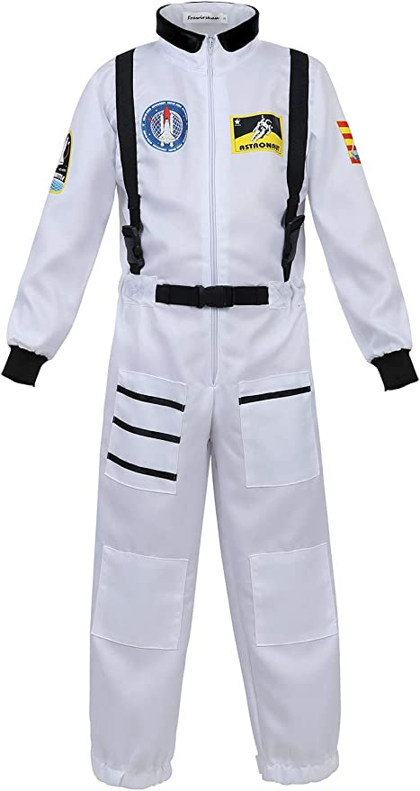 Haorugut Astronaut Costume for Kids Space Suit Role Play Dress up Costume White XL