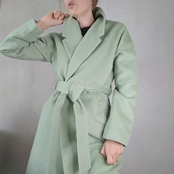 Amazon.com: Women Simple Cashmere Look Maxi Long Robe Belted Coat Woolen Outerwear Manteau Abrigos Mujer: Clothing
