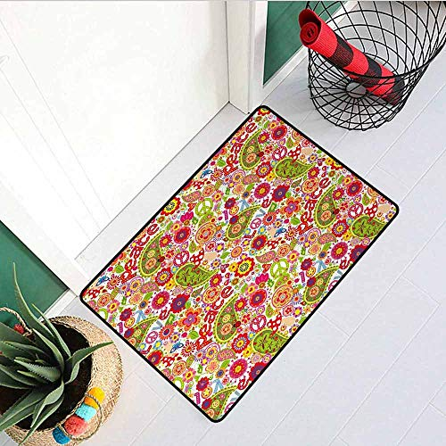 Gloria Johnson 70s Party Commercial Grade Entrance mat Festive Hippie Childish Composition of Mushrooms Poppies Peace Fun Work of Art for entrances garages patios W31.5 x L47.2 Inch Multicolor
