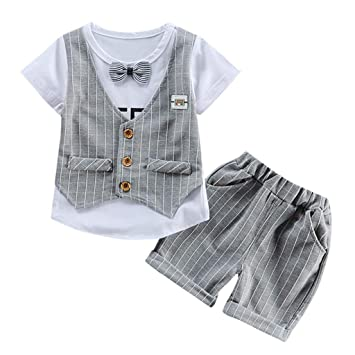 378c06a0e649 Smart Summer Set For Toddler Baby Kids Boys Bow Tie T Shirt+Plaid Vest+