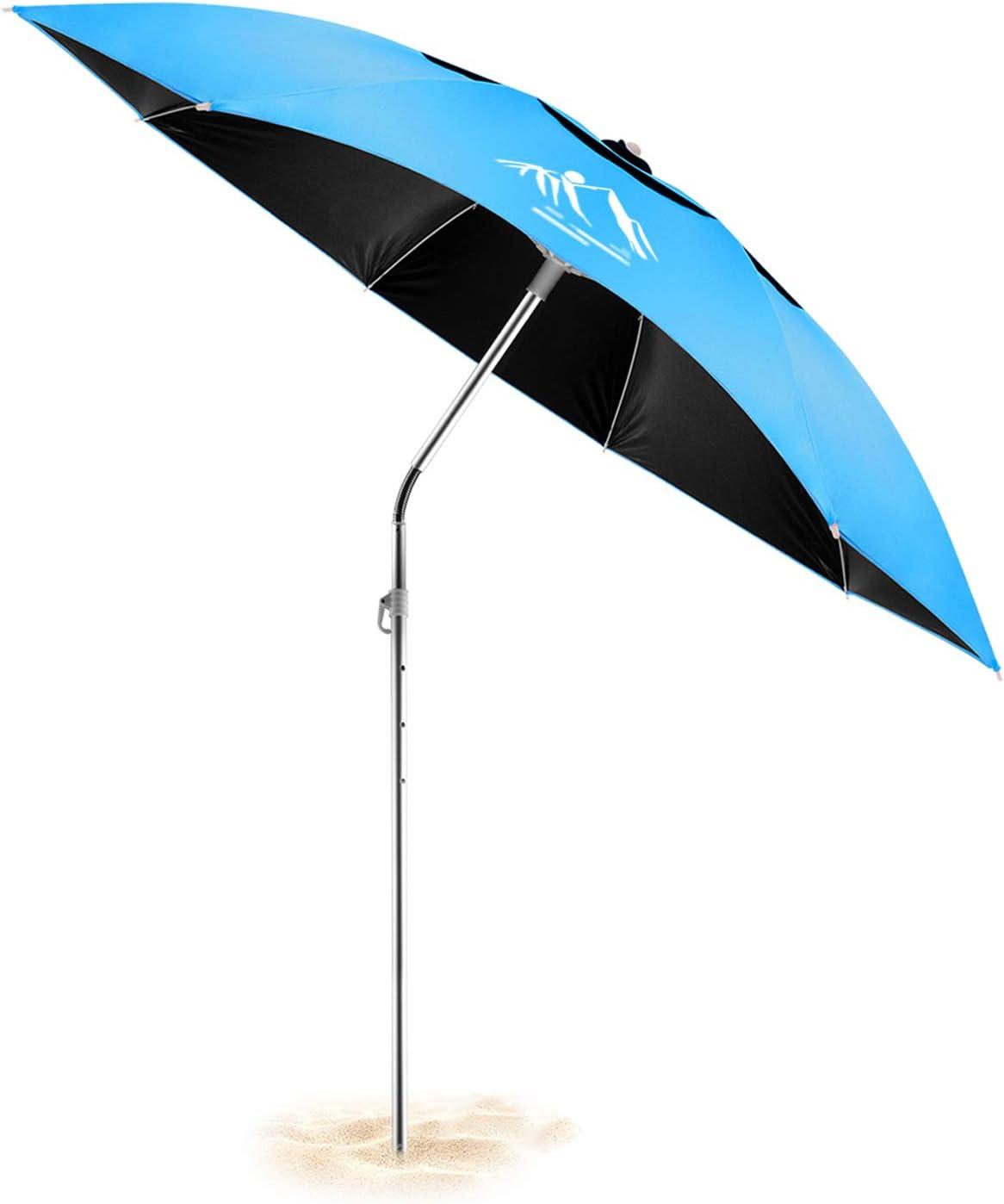 Besroy - Sombrilla portátil con barra telescópica, protección contra el viento y bolsa de transporte – Protección UV, giratoria 360°, para playa, terraza, piscina, terraza, parque
