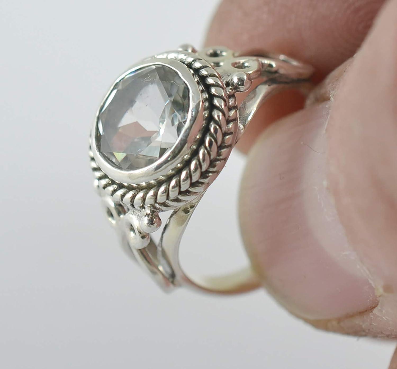 Genuine Sterling Silver Genuine White Topaz Oval Gemstone Baby Ring SIZE 3