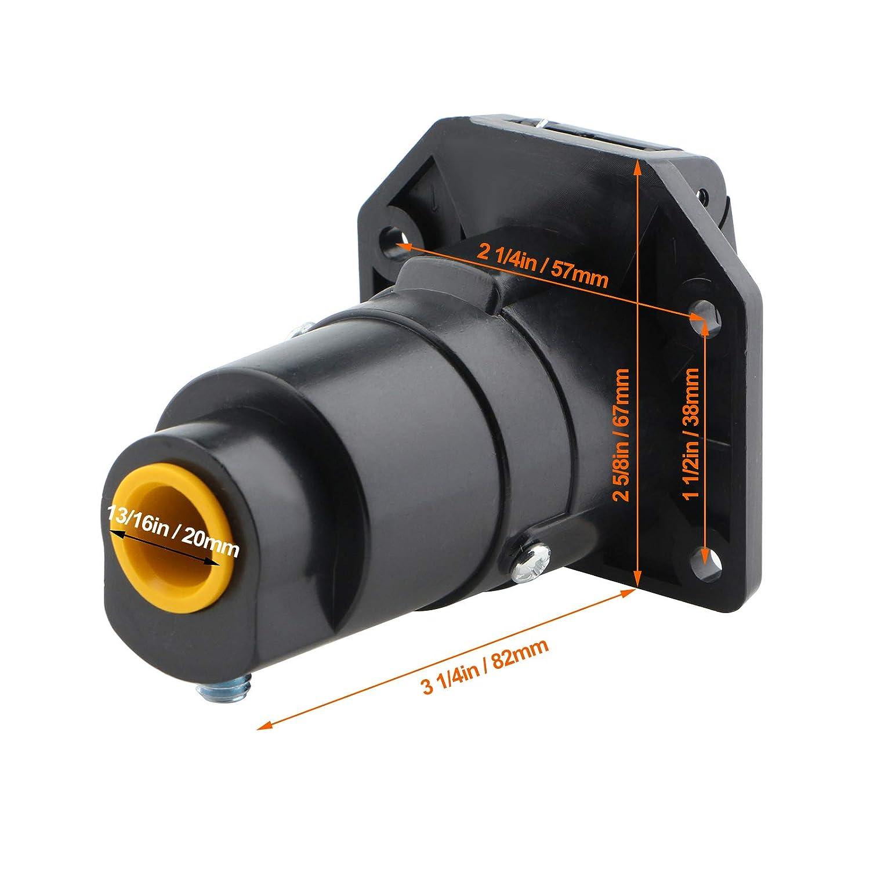 King Company 7 Pin Trailer Plug 7 Pin Flat Blade Plug Connector Adapter 12V Tow Bar Socket