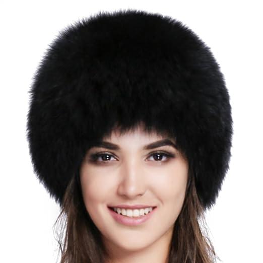 ae35ae0bb7c FURTALK Fox Fur Hat Winter Warm Russian Women Mongolian Hat Black at ...