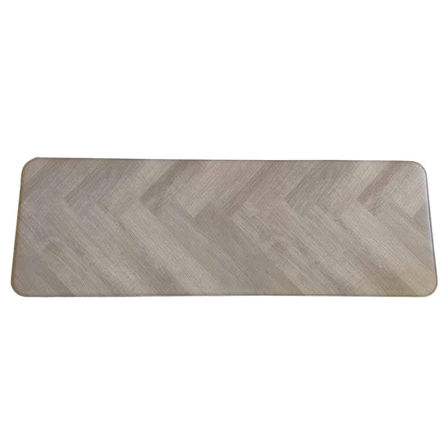 Anti Fatigue Cushion Stylish Comfort Floor Foam Kitchen and Office Mat , Waterproof, Easy to clean, Soft and Thick, Non Toxic, Reversible (Grey and Stripe, 17'' x 37'')