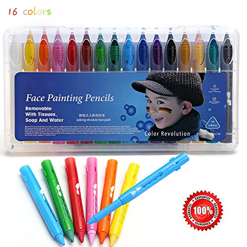 16 Color Face Paint Crayons Kit Body Painting Pencils Sticks Non-Toxic for Makeup Party Halloween