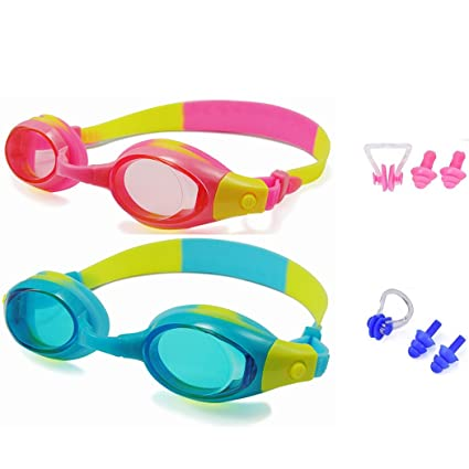 b9a15b433948 Kids Swim Goggles Pack of 2 Swimming Glasses for Children (3 to 15 Years Old