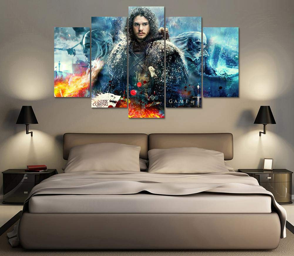 B 30X50X230X70X230X80X1 HD Prints Pictures 5 Pieces Game of Thrones Paintings Modern Canvas for Living Room Home Decor Modular Wall Art Poster