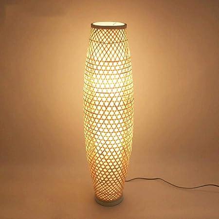Lámpara De Suelo De Bambú De Mimbre Rattan Jarrón Sombra Luz De ...