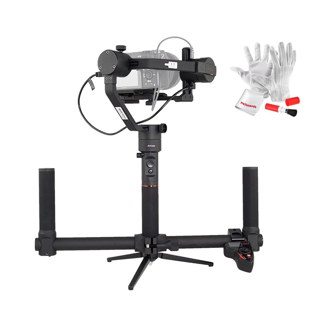 MOZA AirCross 3 Axis Handheld Gimbal with Dual Handle Grip and Wireless Thumb Controller for Mirrorless Camera up to 3.9lb Parameter Auto-Tuning Long Exposure Time-lapse 4 Gimbal Mode 12hrs Runtime