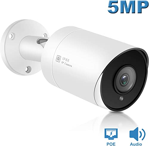 Anpviz 5MP Outdoor Bullet POE IP Camera, Hikvision Compatible with Microphone Audio Wide Angle Security Camera Outdoor Indoor, 2.8mm Lens Motion Detection,98ft Night Vision