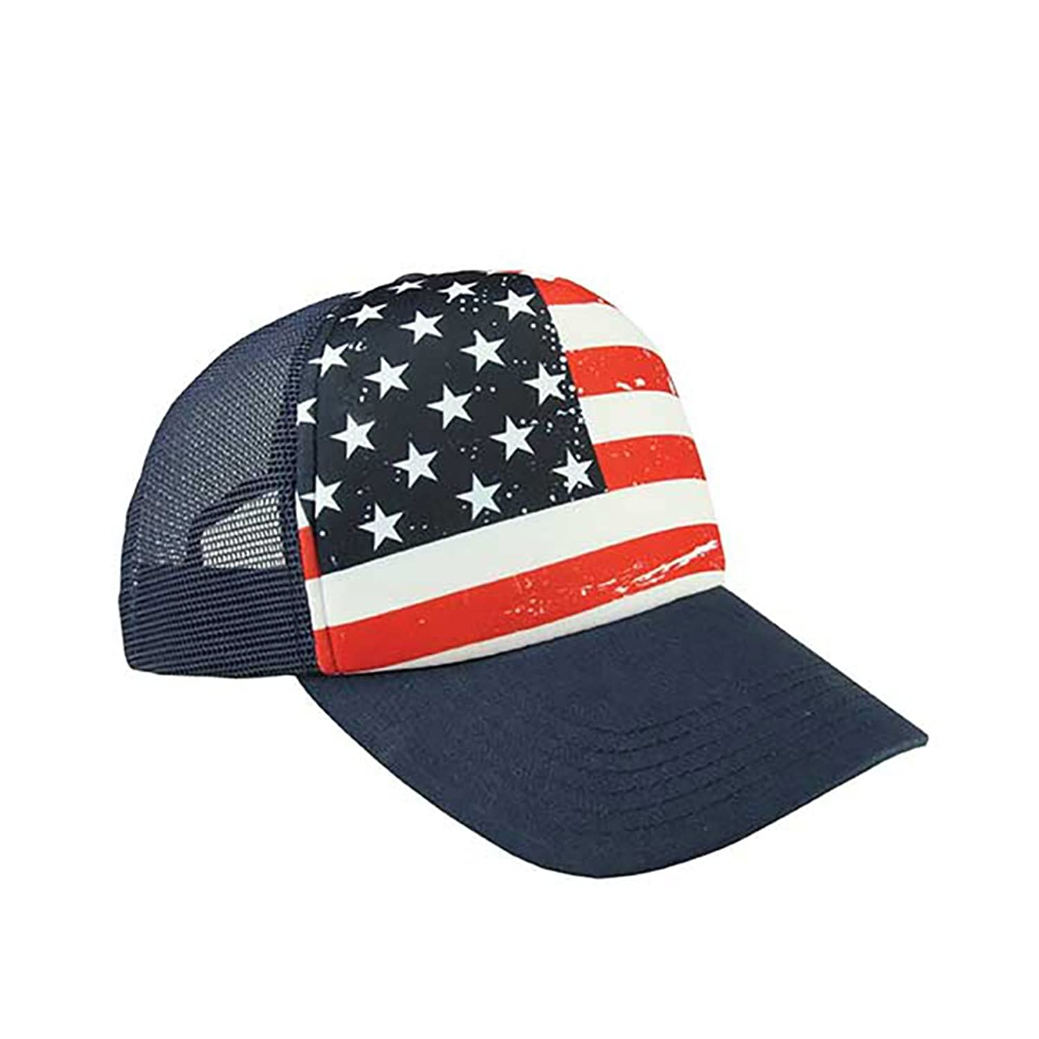 fd692897a0cb Five Panels. Polyester Front With Mesh Back. Plastic Adjustable Snap  Closure. One size fits most. USA Flag Hat American Flag Hat US Stars and  Stripes Hat