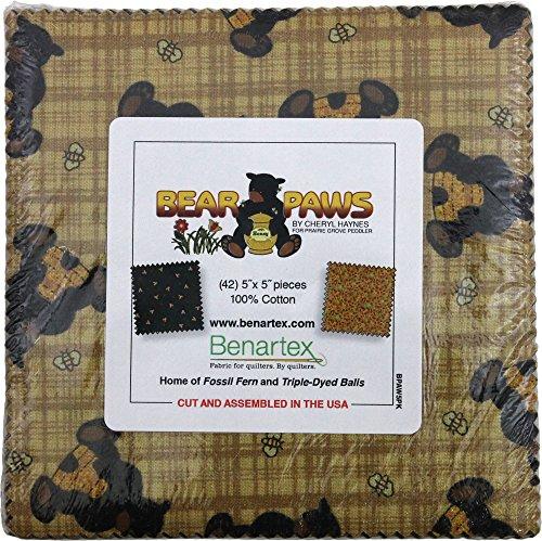 Bear Paw Quilting (Cheryl Haynes Bear Paws 5X5 Pack 42 5-inch Squares Charm Pack Benartex)
