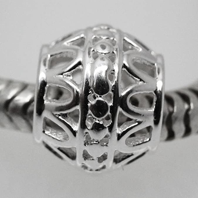 ABSTRACT DECORATIVE Openwork spacer Solid 925 sterling silver charm bead