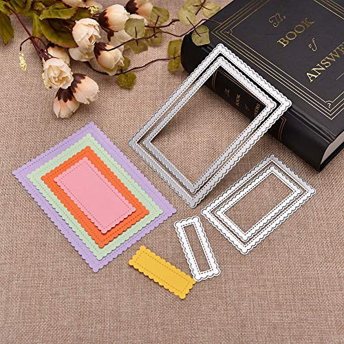 Handcraft Metal Cut Cutting Dies Mold Tool Rectangle Scallop Frame Embossing Die Stencil for Handmade DIY Craft Scrapbooking Scrapbook Album Card ()