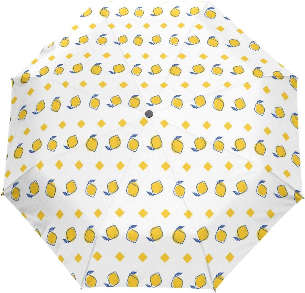 Cute Square Yellow Lemon fashion print cute Windproof automatic tri-fold umbrella sun UV protection Sun umbrella