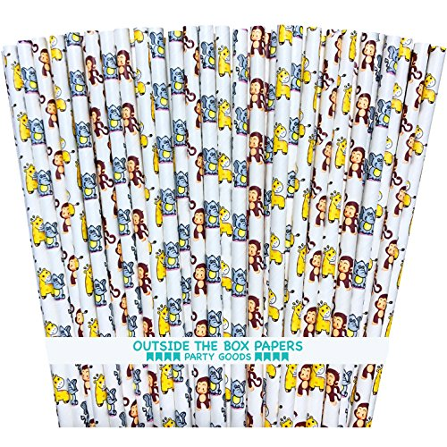 Baby Shower Animal Themed Paper Drinking Straws - Elephants, Giraffes and Monkeys - Blue Brown Yellow White - Pack of (Fall Themed Baby Shower)