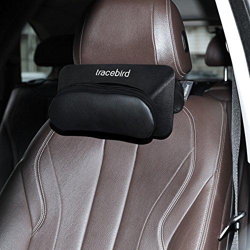 Tracebird Car Smart Pillow, Shiatsu Neck Massager Kneading Massage Pillow Talk for Auto Music Bluetooth Headrest Leather Pillow Black