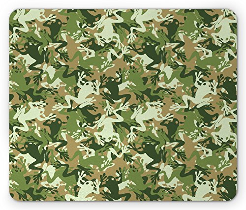 Ambesonne Animal Mouse Pad, Skull Camouflage Military Design with Various Frog Pattern Different Tones Art, Standard Size Rectangle Non-Slip Rubber Mousepad, Sage Pine (Pine Sage)