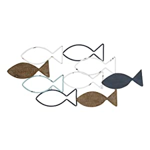 Stratton Home Décor Stratton Home Decor Wood and Metal School of Fish Wall Décor, Multi