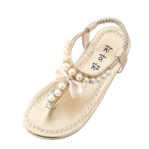 f713f73b45b8c Riverdalin Toddler Kids Girls Slippers Baby Girls Bohemia Pearl Flip-flops  Beach Sandals Princess Dress Shoes Flats