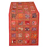 RAJRANG Colorful Red Hand Embroidered Cotton Table Runner - Patchwork Boho Bohemian Room Decor Indian Wedding Reception Party Decorative Placemat for Dinning Table 16 X 72 Inch
