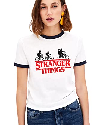 Shirt Ringer Stranger Things per Donna Best Friend T-Shirt BFF Stampa Manica  Corta Maglietta 3178bc10cbd