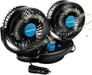 Anpress 12V Car Cooling Fan Oscillating Car Air Fan with Dual Head 2 Adjustable Speeds Quiet Strong Dashboard Cooling Fans DC Electric Car Fans for Sedan SUV RV Boat Auto Vehicles Golf Cart