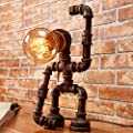 """Y-Nut Loft Style Lamp,""""George"""", Monkey Figure Steampunk Industrial Vintage Style, Water Pipe Table Desk Light with Dimmer BT16-0803, Aged Rustic Bronze Metal"""
