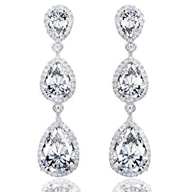 MASOP Elegant Leaves Drop Dangle Earrings Clear Cubic Zirconia, Chandelier Wedding Bridal Earrings