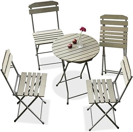 CSQ Balcón Mesa y silla Combinación Jardín Patio Hierro forjado Plegable Silla para exteriores Mesa de madera Pastoral Estilo Múltiples combinaciones Mesa de té (Tamaño : One table+four chairs) : Amazon.es: