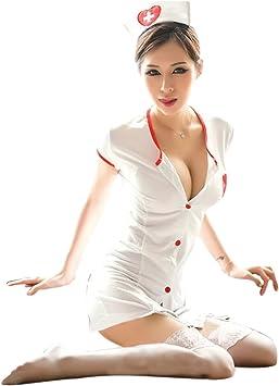 Disfraz de enfermera sexy para mujer con botones y sombrero a ...