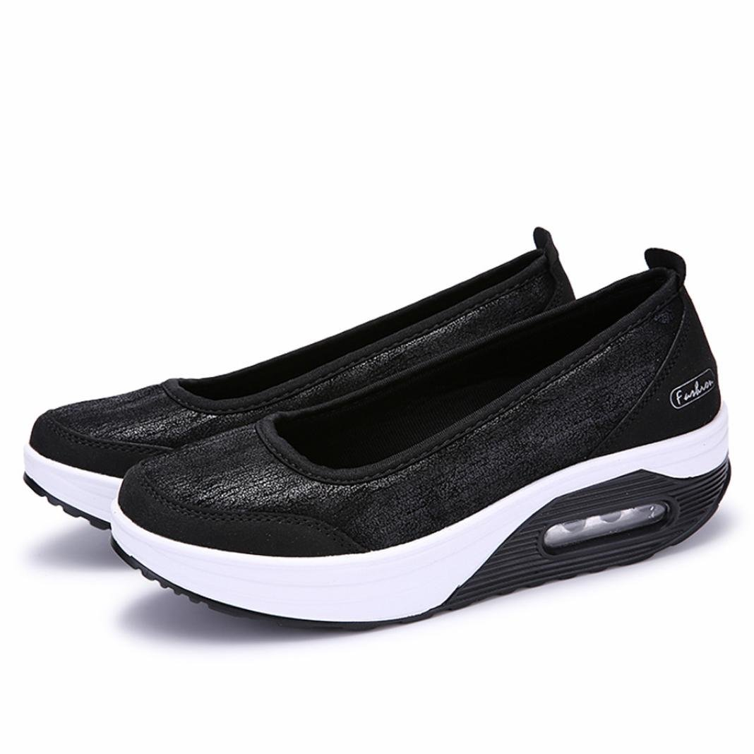 Big Promotion! Women Casual Shoes, Neartime 2018 Fashion Air Cushion Platform Shoes Shallow Round Toe Sport Sneakers (US:8, Black) by Neartime Sandals (Image #6)