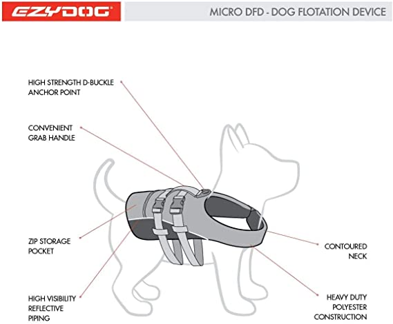 Schwimmwesten f/ür Hunde Hundeschwimmweste EzyDog DFD Schwimmweste Hund Gr/ö/ßenverstellbar mit Griff und Reflektoren