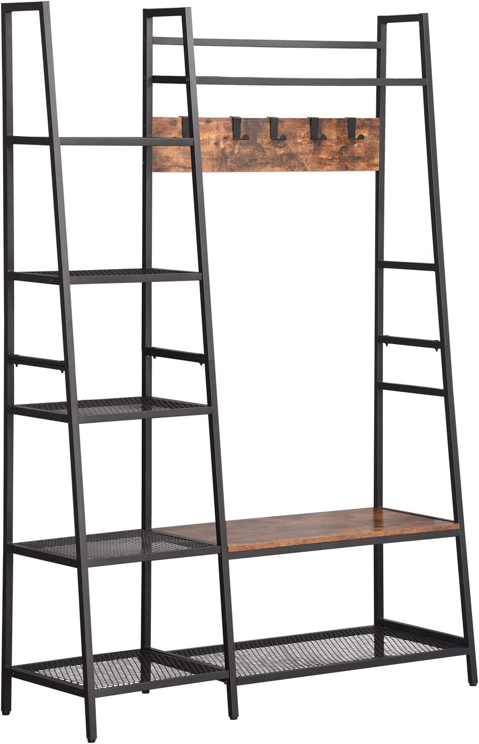 XPELKYS 3-in-1 Entrance Hall Tree with 5 Removable Coat Hangers and Storage Racks, Industrial Coat Rack for Benches, Entrance Shoe Rack with Metal Frame, Easy to Assemble, Rustic Brown