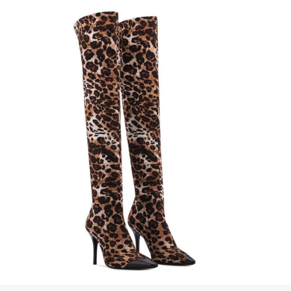 Stiefel Damen Schuhe Schuhe Schuhe Stiefeletten Mode Frauen Spitzen Leopard High Heels Schuhe Stilettos über Das Knie Lange Stiefel (Farbe   Braun, Größe   39 EU)  50120b