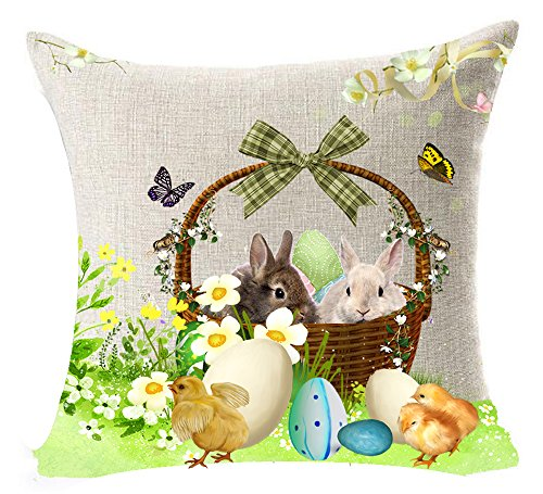 Happy Easter Greetings Gift Cute Bunny Rabbit Flower Color Eggs Butterfly Basket Yellow Chicken On The Grass Cotton Linen Home Throw Pillow Case Cushion Cover NEW Home Decorative Square 18 Inches