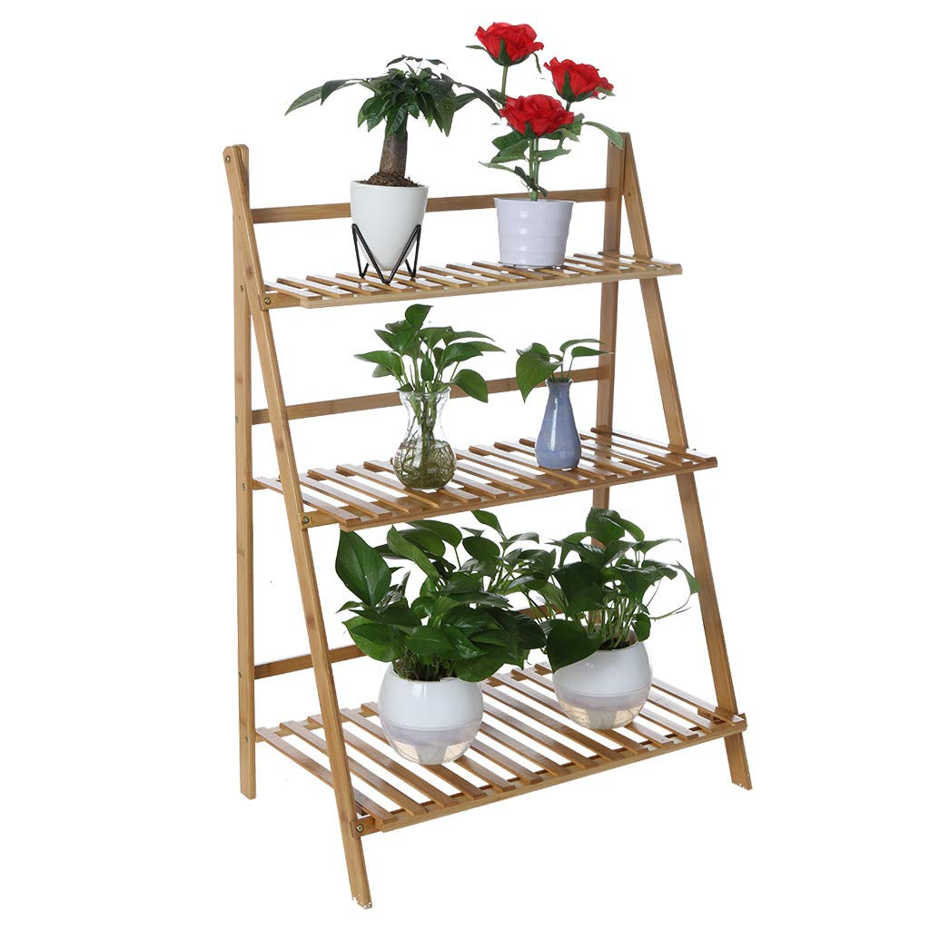 Bamboo Wood Ladder Plant Stand - Indoor Organizer Flower Display Shelf Rack, Flower Pot Shelf Rack for Flowers, Succulents, Books, Home Patio Lawn Garden Balcony Holder(3-Tier) by Toonshare