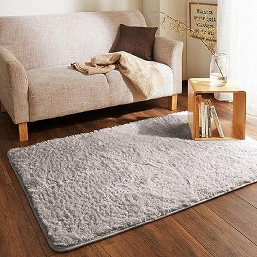 LGXH Fluffy Anti-Skid Shaggy Area Rug 1.97'x6.56' Soft Modern Shag Rug Living Dining Room Carpet Cozy Solid Rugs Grey