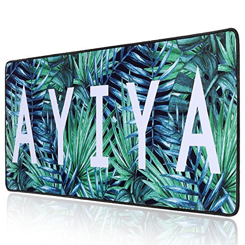 AYIYA Gaming Mouse Pad Large Extended Mouse Mat Long Wide Keyboard Mousepad with Stitched Edges, Non-Slip Rubber Base, Thick 5mm (Palm Leaves, Extended Heavy, 30.8
