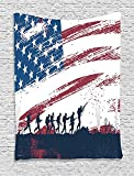 Grunge Home Decor Collection, Silhouette of Soldiers Fighting at War with American Flag in the Background Picture, Bedroom Living Room Dorm Wall Hanging Tapestry, Navy Black