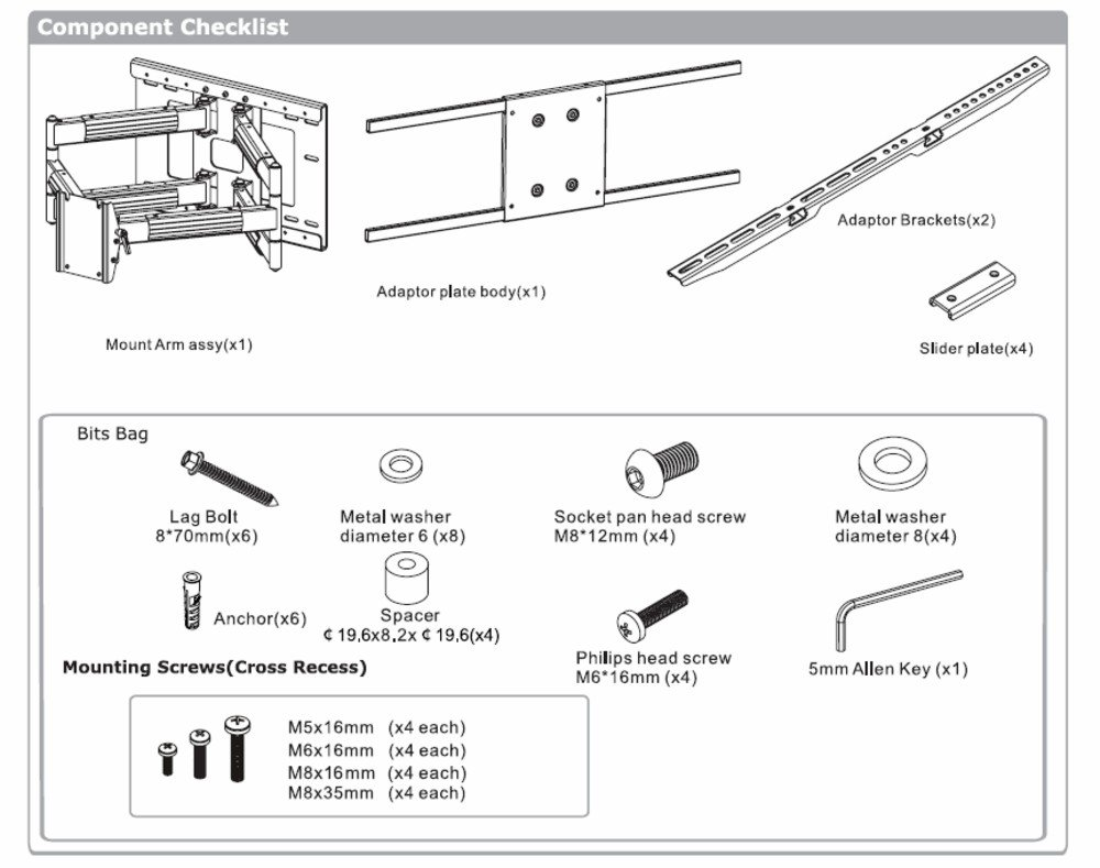 Heavy Duty Dual Arm (32'' extension) Articulating Wall Mount for Samsung LG LED TV 65'' 70'' 75'' 79'' 80''
