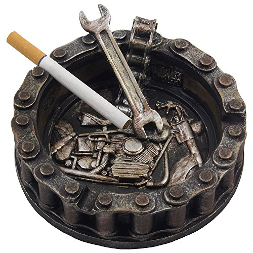 Decorative Motorcycle Chain Ashtray with Wrench