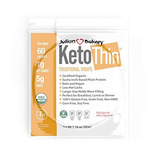 Julian Bakery Keto Thin Wraps | USDA Organic | Gluten-Free | Grain-Free | Low Carb | 1 Net Carb