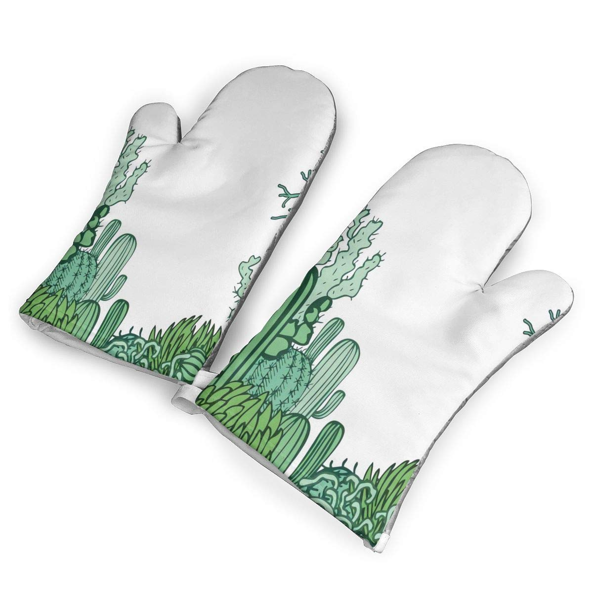 not Arizona Desert Themed Doodle Cactus Oven Mitts with Polyester Fabric Printed Pattern,1 Pair of Heat Resistant Oven Gloves for Cooking,Baking,Grilling,Barbecue Potholders