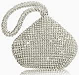 Arts & Crafts : TOPCHANCES Triangle Full Rhinestones Women's Evening Clutch Bag Party Prom Wedding Purse (Sliver)