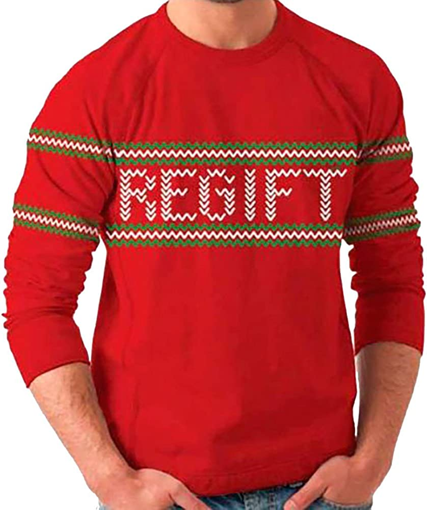 Holiday Present Regift Adult Red Ugly Christmas Sweater